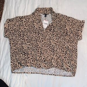 Leopard print oversized button up